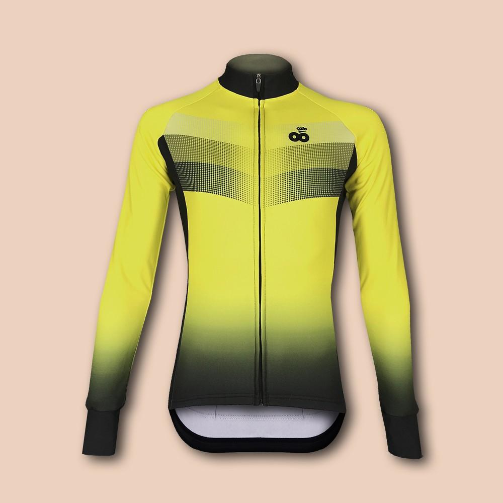 Maillot de vélo hiver manches longues jaune OZIO
