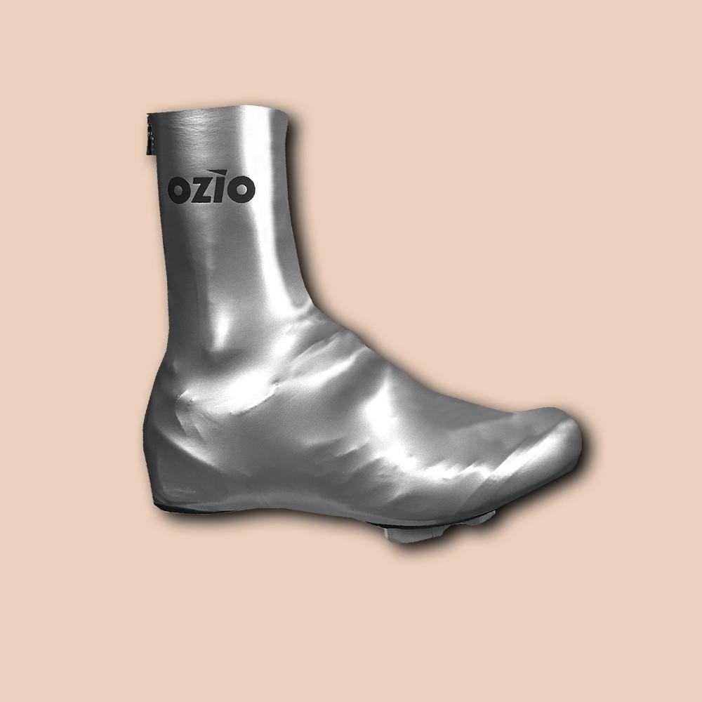 Couvre-chaussures de vélo imperméable gris argent OZIO