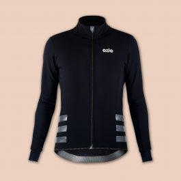 Veste de vélo hiver noire et inserts réfléchissants OZIO