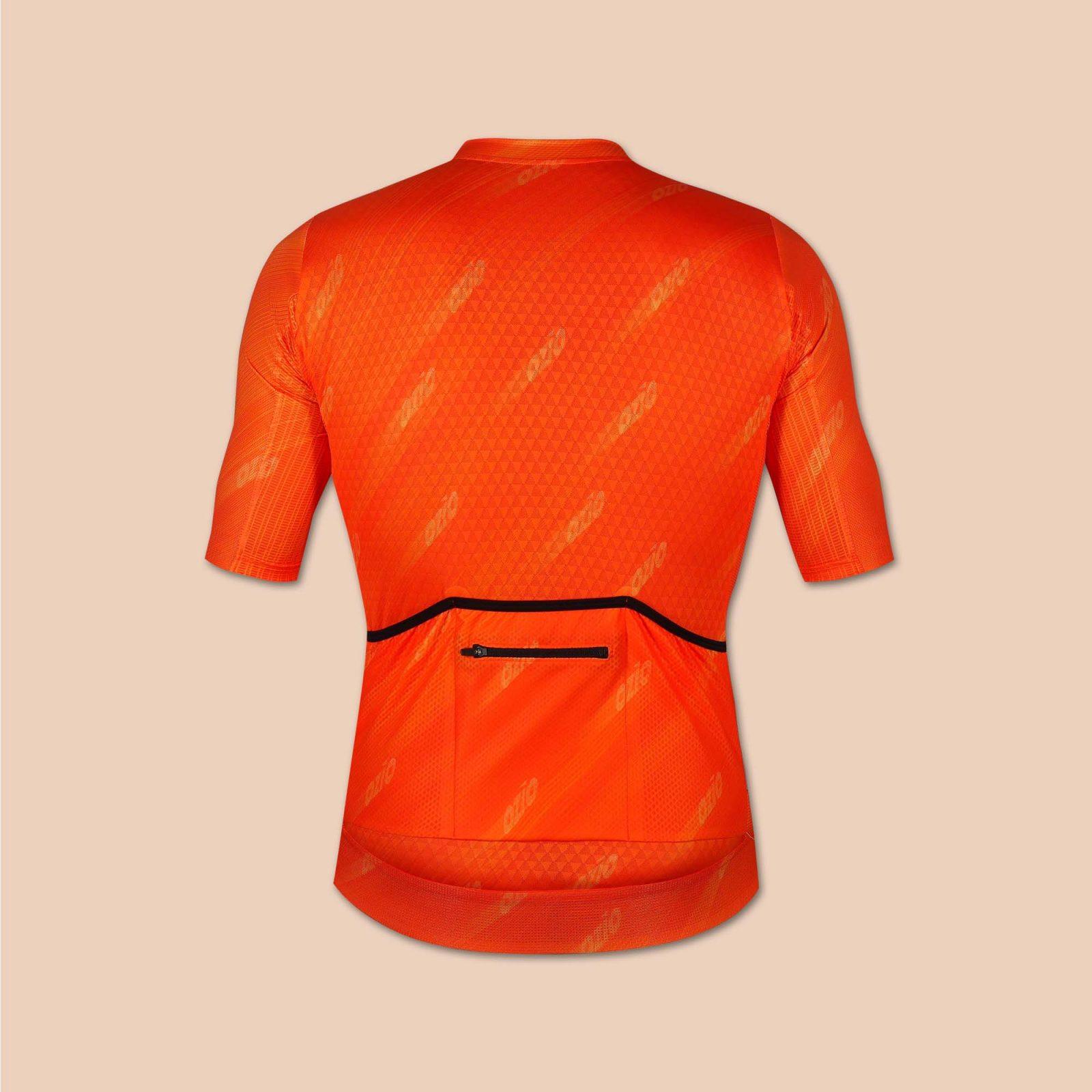 Maillot homme vélo orange arrière uni ozio