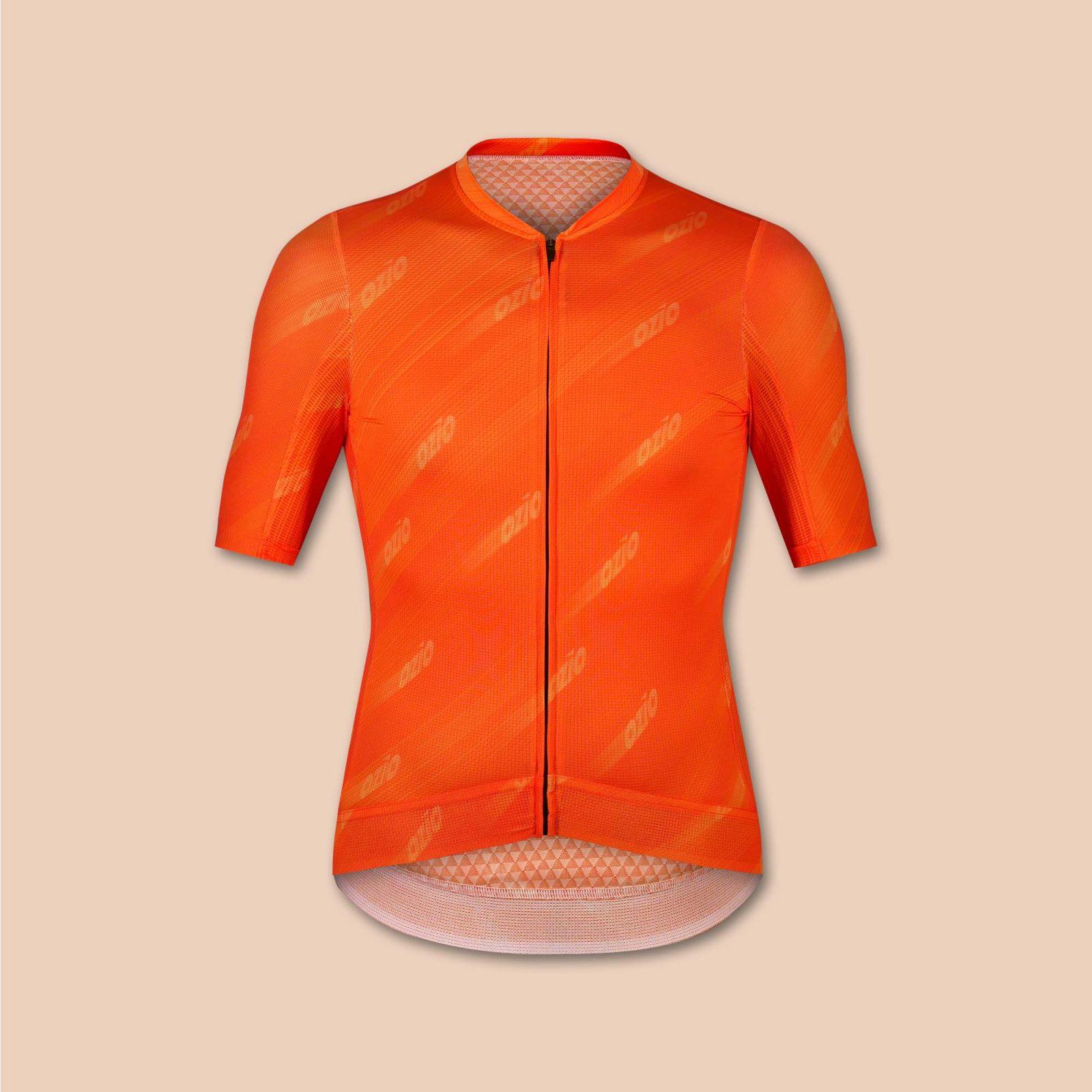 Maillot homme vélo orange uni ozio
