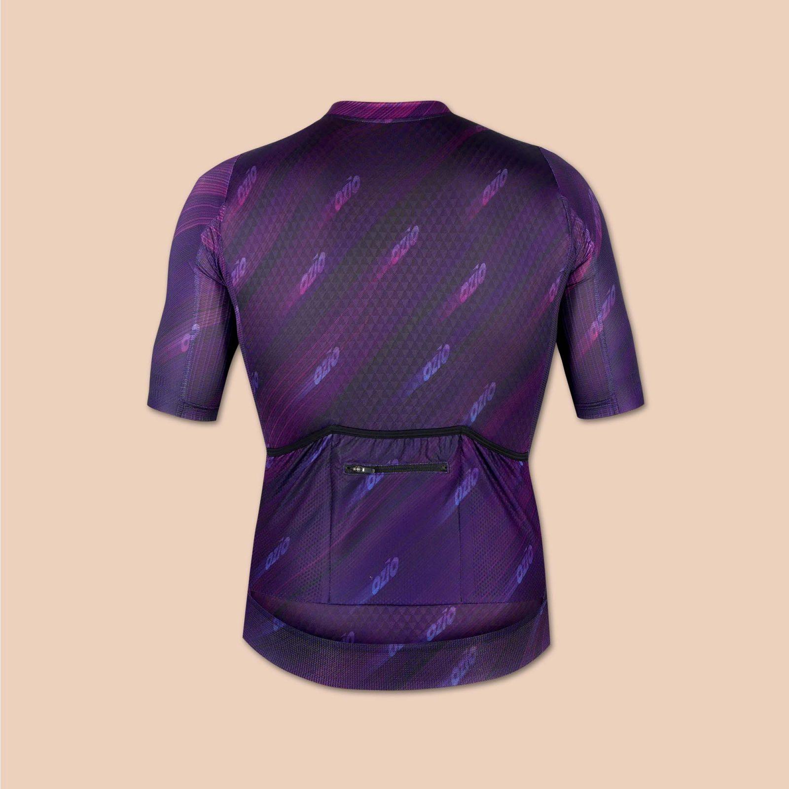 Maillot homme vélo violet arrière uni ozio