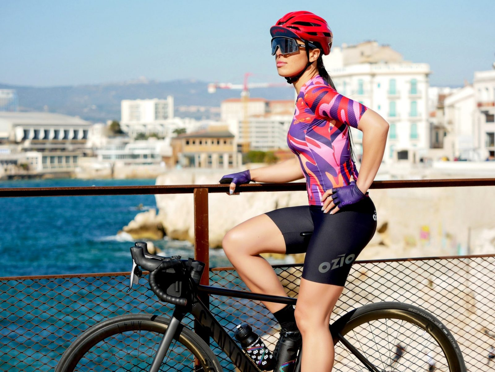 Cuissard de vélo femme avec bretelles et maillot OZIO
