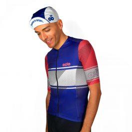 Maillot de vélo été homme bleu blanc et rouge OZIO