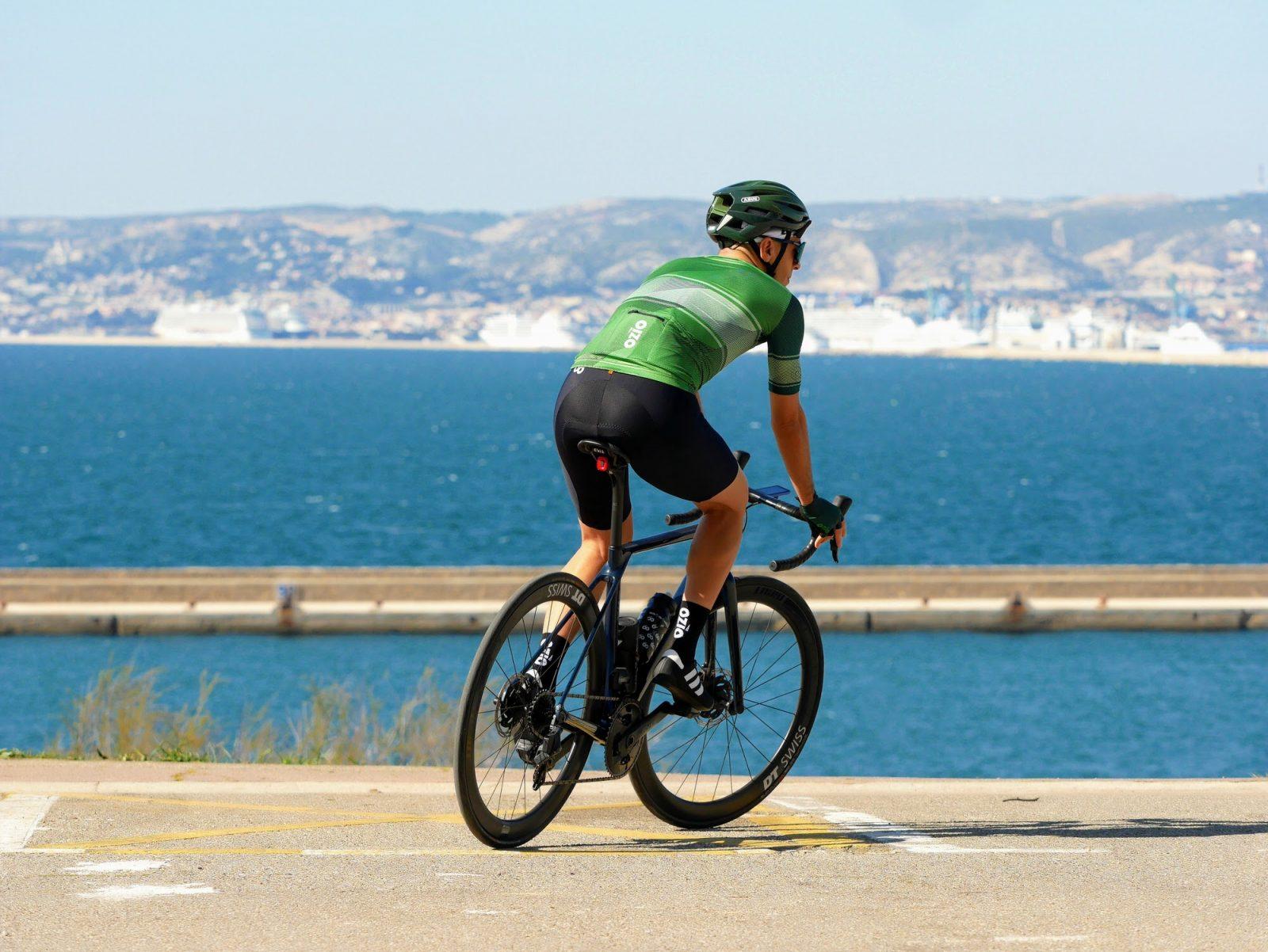 Maillot de vélo été homme vert poche arrière OZIO