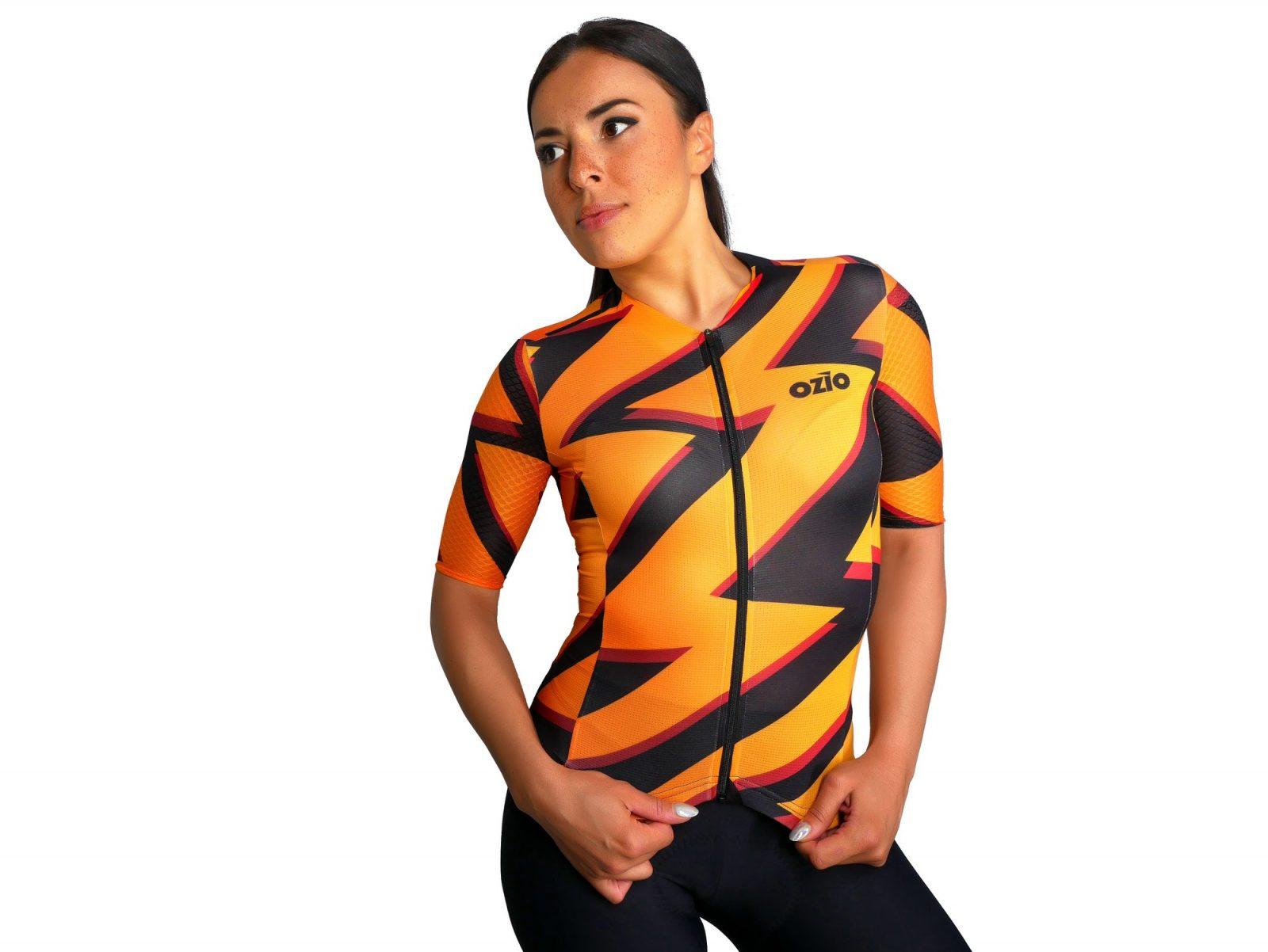Maillot de vélo femme orange et noir OZIO
