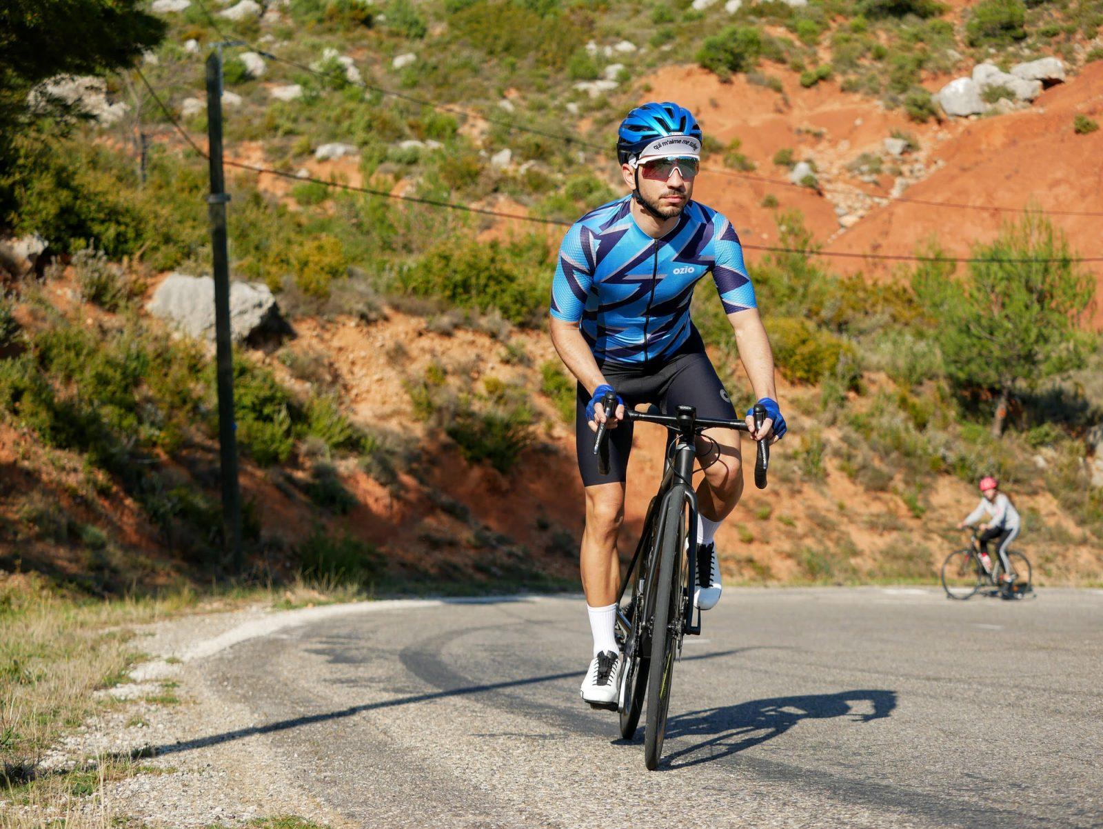 Maillot de vélo manches courtes été bleu OZIO