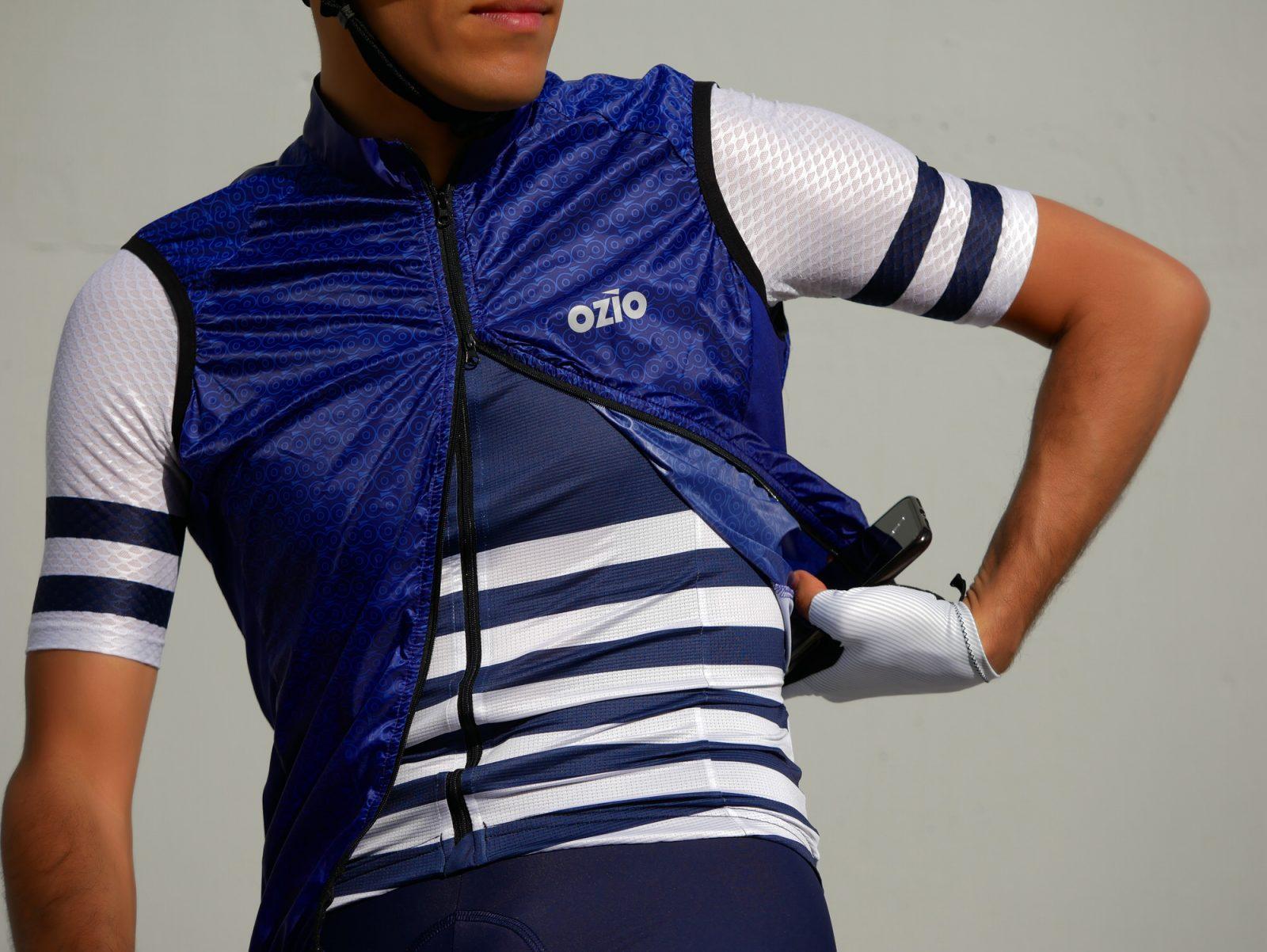 Gilet coupe-vent bleu cycliste OZIO