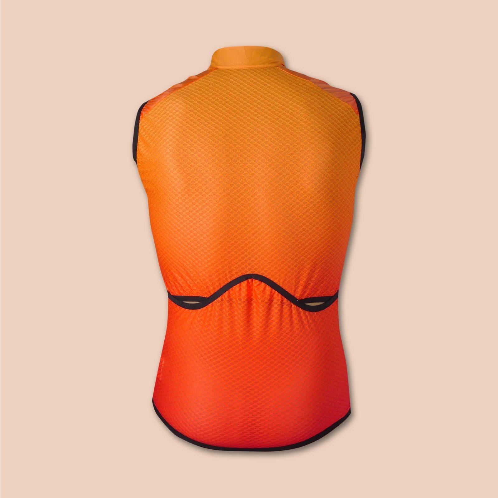 Gilet coupe-vent cycliste orange arrière OZIO