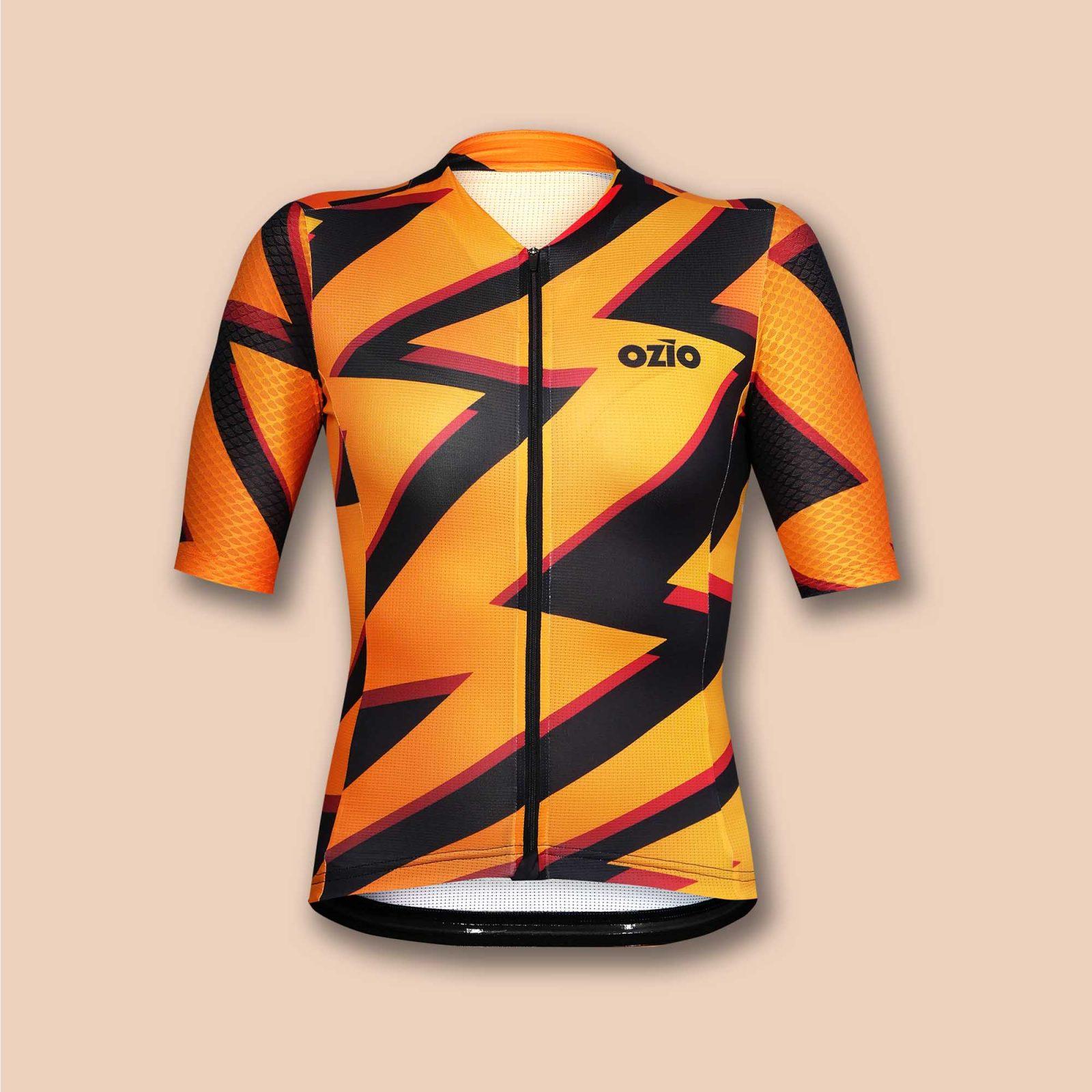 Maillot vélo femme orange et noir