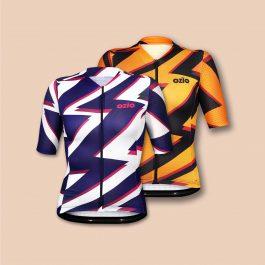 Deux maillots vélo femme bleu et blanc puis orange et noir