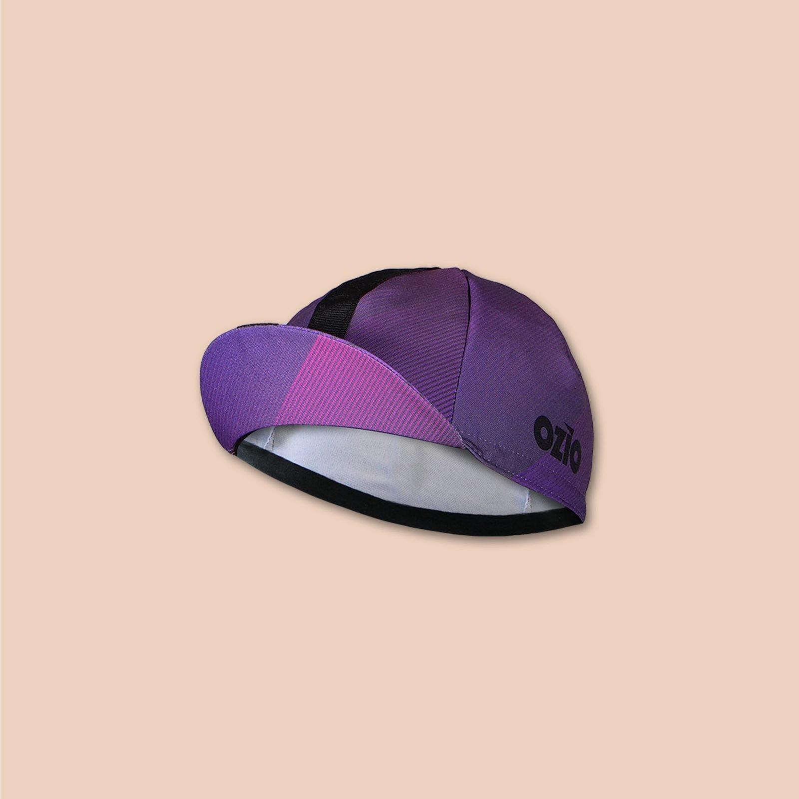 Casquette vélo violette vue 3/4