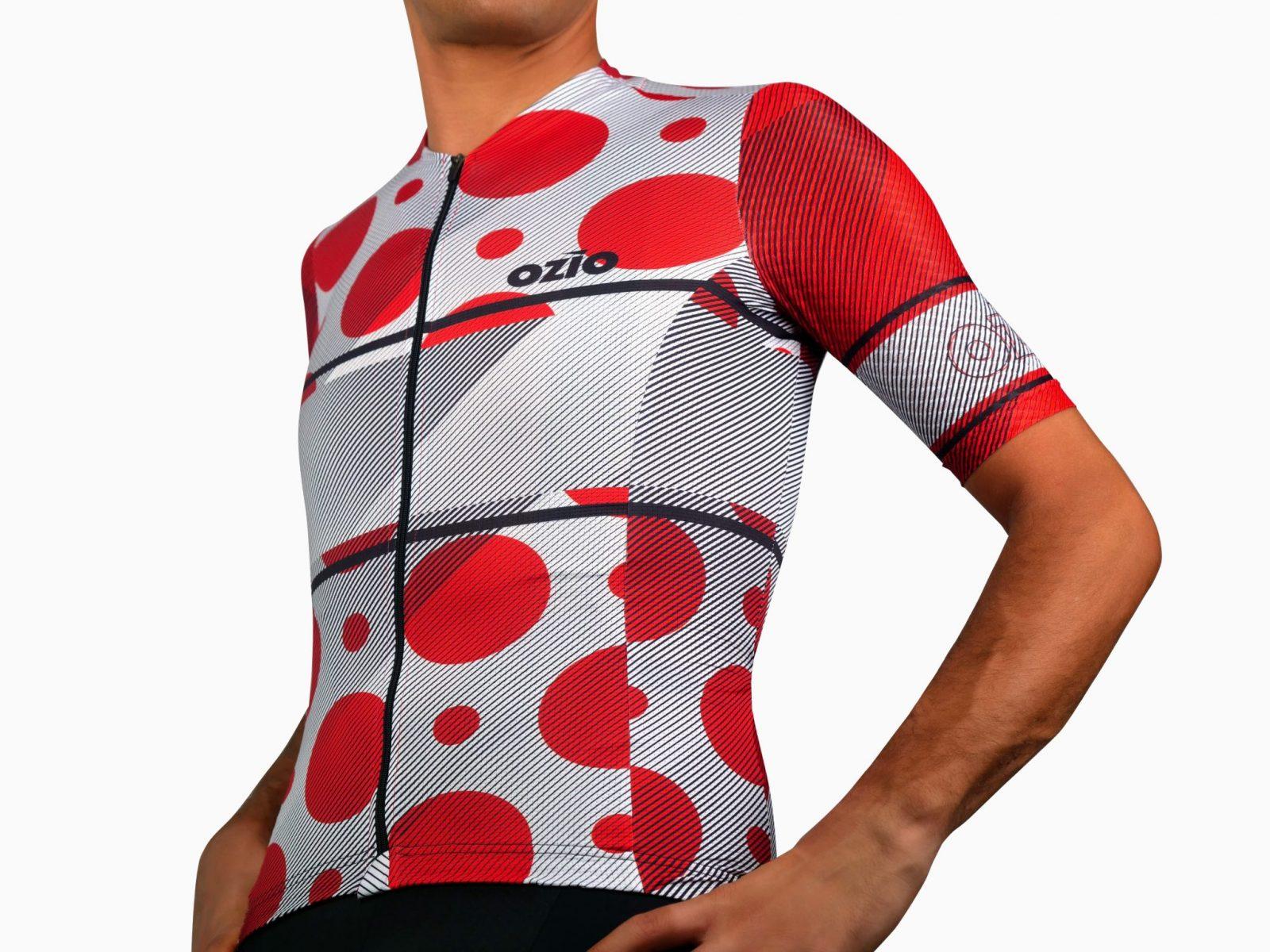 Maillot de vélo blanc à pois rouge face avant